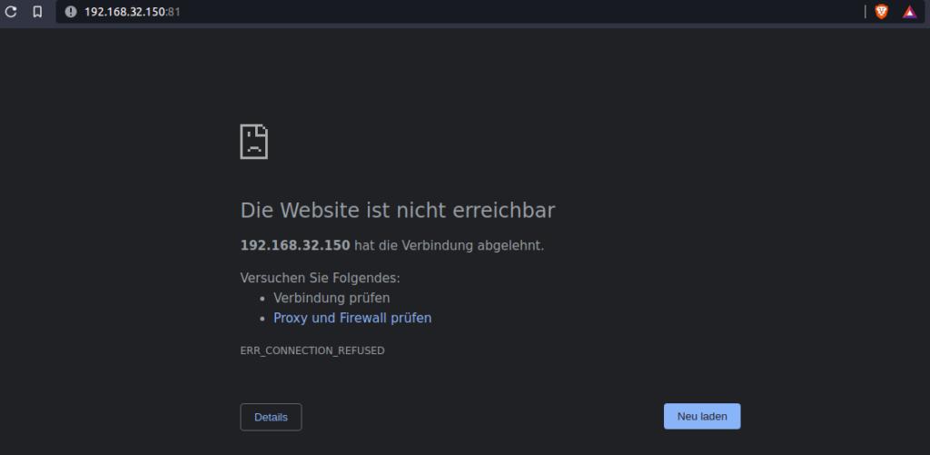 Keine Verbindung zu Nginx Proxy über IP und Port.